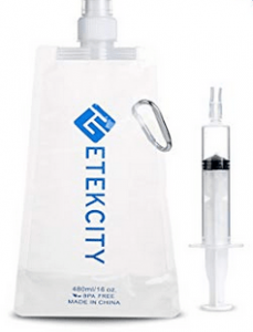 Foldable water bag and syringe